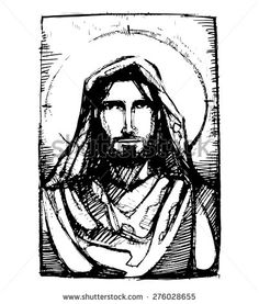 Hand drawn vector illustration or drawing of Jesus Christ friendly face - stock vector