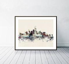 jersey city skyline .colorful pop art minimalist watercolor Wanderlust, Baltimore City, Painting & Drawing, Illustration, Pop Art, Watercolours, Poster, Minimalist, Skyline