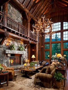 Greatest great room in Shiloh, MT. O.O Landmark Builders.  Love the antler piece!!