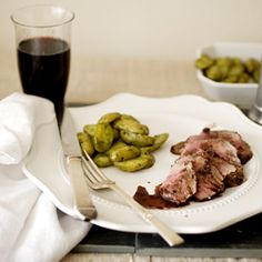 Roasted free roaming lamb with a balsamic vinegar and red wine jus.