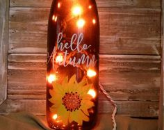 Fall Lighted Wine Bottle/Painted/Decoration/Autumn/Sunflower