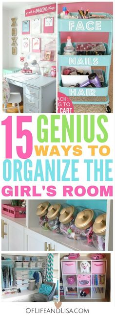 I love these budget-friendly ways to organize my girls bedroom. These bedroom organization ideas for girls are awesome! Be inspired to organize your girls bedroom with ease. You will love these budget-friendly and creative bedroom organization ideas! Teen Girl Bedrooms, Little Girl Rooms, Bedroom Decor For Teen Girls Diy, Baby Bedroom, Girs Bedroom Ideas, Bedroom Wall, Kids Bedroom Ideas For Girls Tween, Girls Bedroom Decorating, Girl Room Decor