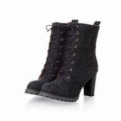 Winter Round Toe Lace Up Chunky High Heels Black Suede Mid Calf Martens Boots_Boots_Womens Shoes_Cheap Clothes,Cheap Shoes Online,Wholesale Shoes,Clothing On lovelywholesale.com - LovelyWholesale.com