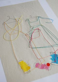 Stitched garments, a fun art project for any age. Experiment with free motion stitches, draw out a guide, and alternate thread choices!  #sewing #thread #art