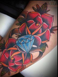 red-roses-and-blue-diamond-tattoo.jpg (706×948)