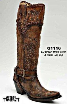 Corral Brown Whip Stitch And Studs - Boots Corral Cowgirl Boots, Cowboy Boots Women, Western Boots, Corral Boots Womens, Mode Country, Country Boots, Cute Shoes, Me Too Shoes, Boot Scootin Boogie