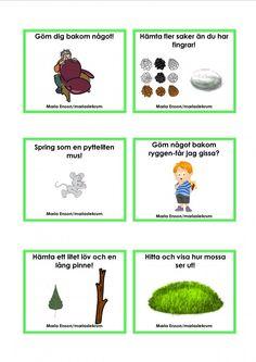 Uppdragskort-Skogen/matematik Outdoor Activities, Activities For Kids, Crafts For Kids, Preschool Math, Kindergarten, Sign Language Book, Learn Swedish, Swedish Language, Outdoor Education