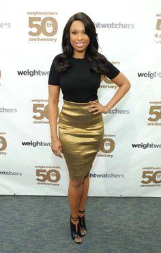 Jennifer Hudson Gold Pencil Skirt, Gold Skirt, Stretch Pencil Skirt, Metallic Skirt, Jennifer Hudson, Donna Karan, Christian Dior, Christian Louboutin, Diane Kruger