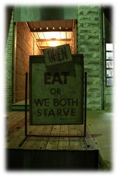 Restaurant Sign: OPEN...EAT or We Both Starve. Roxane Baxter Photography on Etsy