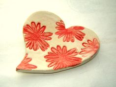 Check out this item in my Etsy shop https://www.etsy.com/listing/224397096/red-flower-heart-dish-plate-home-decor