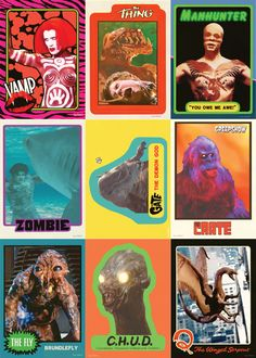 80's Movie Trading Cards Monster Cards, Saturday Morning Cartoons, Famous Monsters, Vintage Horror, Creature Feature, Horror Films, Scary Movies, Classic Toys, Vintage Halloween