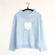 Buy Mori Girl Clothes Knit Sweater on Mori Girl の森ガール.Preppy Adorable Heart Knit Sweater Cute Turtle Neck Shirt Mg413 catches up with the cute style.Get yourself ready to look fashion and keep out the cold on wearing it in the autumn or winter.Don't miss it.