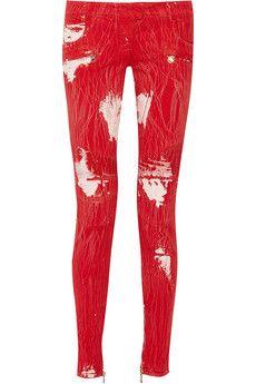 Balmain Paint-splattered low-rise stretch-denim skinny jeans | THE OUTNET