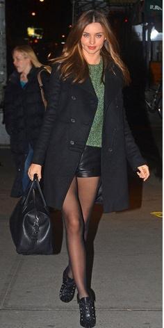 Miranda Kerr Short Leather Shorts NYC