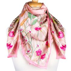 - hand rolled edges- smooth lightweight silk- glossy on the front side, matte on the back side- beautiful floral prin. Pink Scarves, Butterfly Flowers, Pink Silk, Business Outfits, Square Scarf, Western Wear, Pink Color, Alexander Mcqueen Scarf, The Help