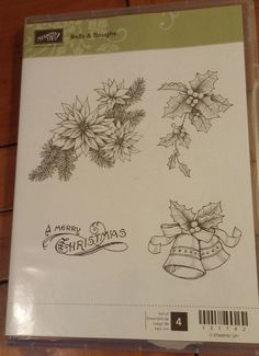 Stampin Up stamp set Bells and Boughs, retired, 4 pc set #StampinUp