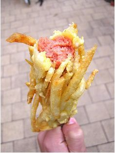 A hot dog on a stick... kinda like a corn dog but it's covered in french fries!  What a totally brilliant idea!!!  It's fair time and although I do get a bit freaked by the carnies- all the deep fried list of super bad food then a fast for the next few weeks seems to help!