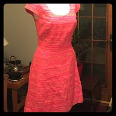 NWT- Lilly Pulitzer Rylan Dress, size 10 NWT- Lilly Pulitzer Rylan Dress Neon Pink/Metallic Boucle- Style# 51991 The jacket is available separately also NWT pictured in last photo and in my closet. Thank you for looking. Lilly Pulitzer Dresses Midi