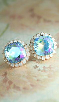 Aqua glacier blue white opal square crystal stud halo earrings   square crystal earrings   swarovski earrings   aqua wedding   www.endorajewellery.etsy.com