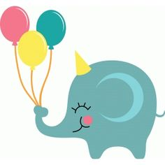 Silhouette Design Store - View Design #40043: elephant with balloons