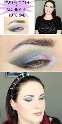 Kat Von D Pastel Goth and Alchemist Palette Makeup Tutorial. This makeup tutorial is great for hooded eyes but can work o other eye shapes. The tape makes it easy to create a subtle shadow wing. These are two beautiful vegan palettes perfect for pale skin!