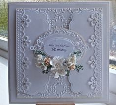 Handcrafted card made by myself using top quality materials. The size is apron 7.5 square. Inside has an insert which reads With love on your Birthday  I take great care and time in making my cards and have been greatly received in the past. A very special one off card for someone special.