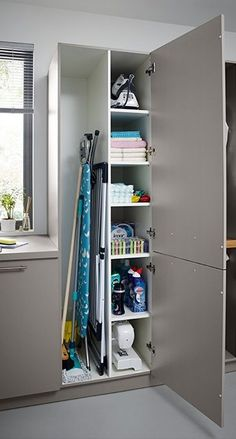 Utility Rooms by Schüller - Schuller by Artisan Interiors Utility Room Storage, Utility Closet, Laundry Storage, Laundry Room Organization, Broom Storage, Small Utility Room, Vacuum Storage, Ikea Utility Room, Laundry In Closet