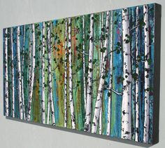 TITLE: Young Birch Woods   IN THE SPIRIT OF GIVING: Buy one painting for $300 or more (or two paintings that add up to $300 or more) and receive any 8x10 painting from the 8x10 Collection absolutely free. Just message me the title of the one you want in the Notes to Seller box when making your purchase.  FIRST COME FIRST SERVED WHILE QUANTITIES LAST.   ***FREE SHIPPING to USA and Canada*** ***REDUCED RATE to UK***    This is an original abstract painting hand painted by the artist…