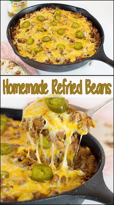 Homemade Refried Beans are a delicious addition to burritos, tacos, or nachos. Make them vegetarian or not, & spice them up specifically for your family! Mexican Dishes, Mexican Food Recipes, Dinner Recipes, Ethnic Recipes, Dinner Ideas, Edamame, Enchiladas, Healthy Foods To Eat, Healthy Recipes