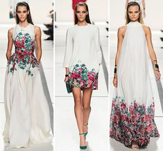 Elie Saab's S/S 2014 Collection, elegant floral designs. At www.justblynk.com, we can find something just as glamorous, but a little more fitted to your price range.