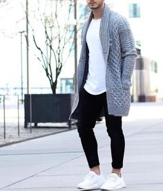 Gray Basketweave Drop Cardigan, Urban Street Style, Men's Spring Summer Fashion.