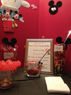 Mickey Mouse candy buffet by A Sweet Event. Candy Buffet, Buffets, Popcorn Maker, Mickey Mouse, Treats, Sweet, Sweet Like Candy, Candy, Goodies