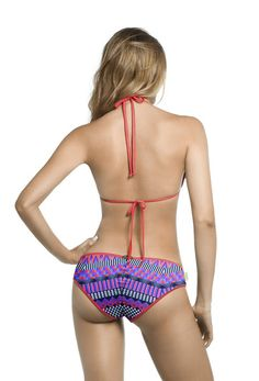 Mar de Rosas 2016  Mar de Gaviota Bikini - One of the best features of this bikini are the contemporary cut out bottoms. This alluring print accented with intricate hand beading across the front of the bikini bottoms look even better against the skin with these sensual cut-outs on the hip. These bottoms are modern yet tasteful. #marderosas
