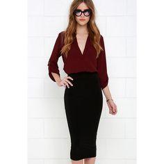 Cover the Basics Black Midi Skirt ($38) ❤ liked on Polyvore featuring skirts, black, black midi skirt, bodycon midi skirt, mid-calf skirt, calf length skirts and black knee length skirt