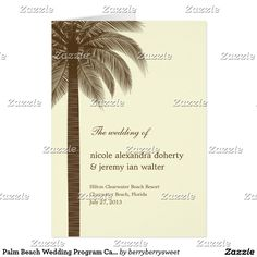 Palm Beach Wedding Program Card - Brown