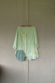 large upcycled Linen lace tunic shirt / Eco by lillienoradrygoods