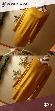 Mustard Yellow Sweater shirt/dress In great condition. Runs L-XL   Sweaters Crew & Scoop Necks