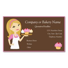Blonde/Pink Cupcake Baker/Bakery Business Card. Make your own business card with this great design. All you need is to add your info to this template. Click the image to try it out!