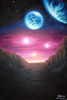 Gliese 667Cc, oil on canvas painting