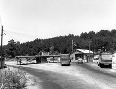 """1940s Oak Ridge Military Gate. """"Oak Ridge was established in 1942 as a production site for the Manhattan Project—the massive U.S., U.K. and Canadian operation that developed the atomic bomb."""""""