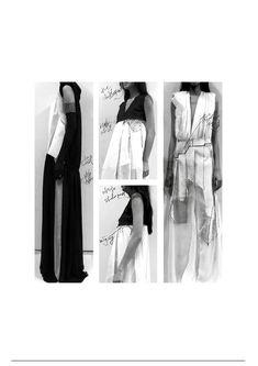 Fashion sketchbook development page by Teruhiro Hasegawa Sketchbook Layout, Textiles Sketchbook, Fashion Sketchbook, Sketchbook Inspiration, Fashion Sketches, Csm Sketchbook, Book Presentation, Portfolio Presentation, Fashion Portfolio Layout