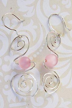 Spiral Pink Bead Drop Earrings, Sterling Silver Spiral Earrings