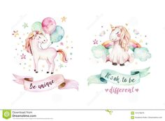Isolated Cute Watercolor Unicorn Clipart. Nursery Unicorns Illustration. Princess Rainbow Unicorns Poster. Trendy Pink Stock Illustration - Illustration of birthday, pink: 101578676