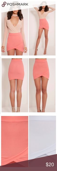 PrettyLittleThing Gabriella Mini Skirts PrettyLittleThing Gabriella Mini Skirts •Available colors in Coral and Ice Blue •Featuring figure flattering shape and contemporary style textured fabric, this asymmetric mini skirt is a total wardrobe must-have. Just add a crop top, strappy heels and a statement necklace for knock out style. See Size Chart - US 4 Pretty Little Thing Skirts Mini