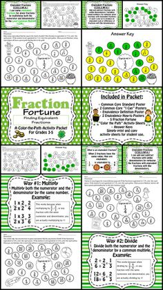 """Equivalent Fraction Fortune- A Color the Path Activity Packet!   Includes: Common Core Standard Poster, 2 Common Core """"I Can"""" Posters, Equivalency Definition Poster, 2 Equivalency How-to Posters, 5 Fraction Fortune """"Color the Path"""" Activity Sheets, Answer Keys.  3 of the activity sheets are St. Patrick's Day themed, while 2 are more general themed, for year-round use.  Can't wait to use this with my students!"""
