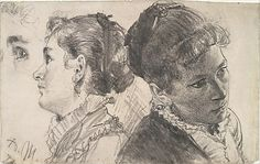 Adolf Menzel - Studies of a Young Woman
