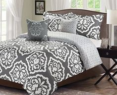 For extra thick mattress; do you need a king size comforter. Queen is small on our bed???? 5 Piece Queen Comforter Bedding Set Gray Medallion Damask Over-sized and Overfilled Master bedroom