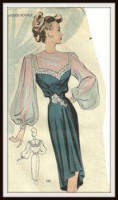 Modes Royale Pattern 129 Dramatic Evening Dress by Abbysfabric, $225.00