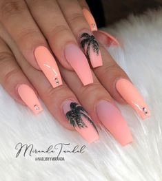 Awesome Acrylic Coffin Nails Designs In Summer - Nail Art Connect Summer Acrylic Nails, Best Acrylic Nails, Summer Nails, Nail Swag, Cute Acrylic Nail Designs, Nail Art Designs, Nails Design, Cute Simple Nails, Easy Nails