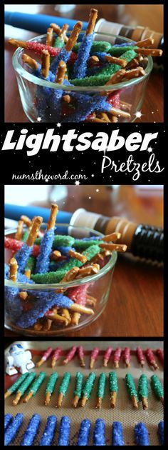The perfect simple treat for a Star Wars party or just any time for a real Star Wars fan, these Lightsaber Pretzels not only look cool but taste good too!